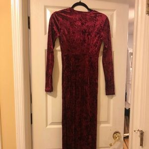 Low cut maroon long sleeve suede dress with slit